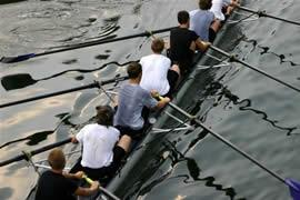 Image of men rowing. The mission of the heartland CBMC is to present Jesus Christ as Savior and Lord to business and professional men and to develop Christian business and professional leaders to carry out the Great Commission.